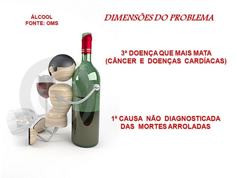 DIMENSÕES DO PROBLEMA - ÁLCOOL / BRASIL 60% - MAUS TRATOS CRIANÇAS / AGRESSÕES MULHERES.