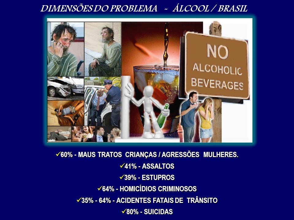 DIMENSÕES DO PROBLEMA - ÁLCOOL / BRASIL 60% - MAUS TRATOS CRIANÇAS / AGRESSÕES MULHERES. 60% - MAUS TRATOS CRIANÇAS / AGRESSÕES MULHERES. 41% - ASSALT