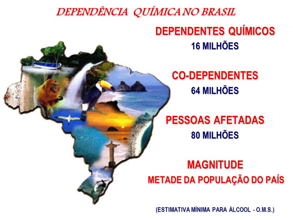 DEPENDÊNCIA QUÍMICA NO BRASIL DEPENDENTES QUÍMICOS 16 MILHÕES CO-DEPENDENTES 64 MILHÕES PESSOAS AFETADAS 80 MILHÕES MAGNITUDE METADE DA POPULAÇÃO DO P
