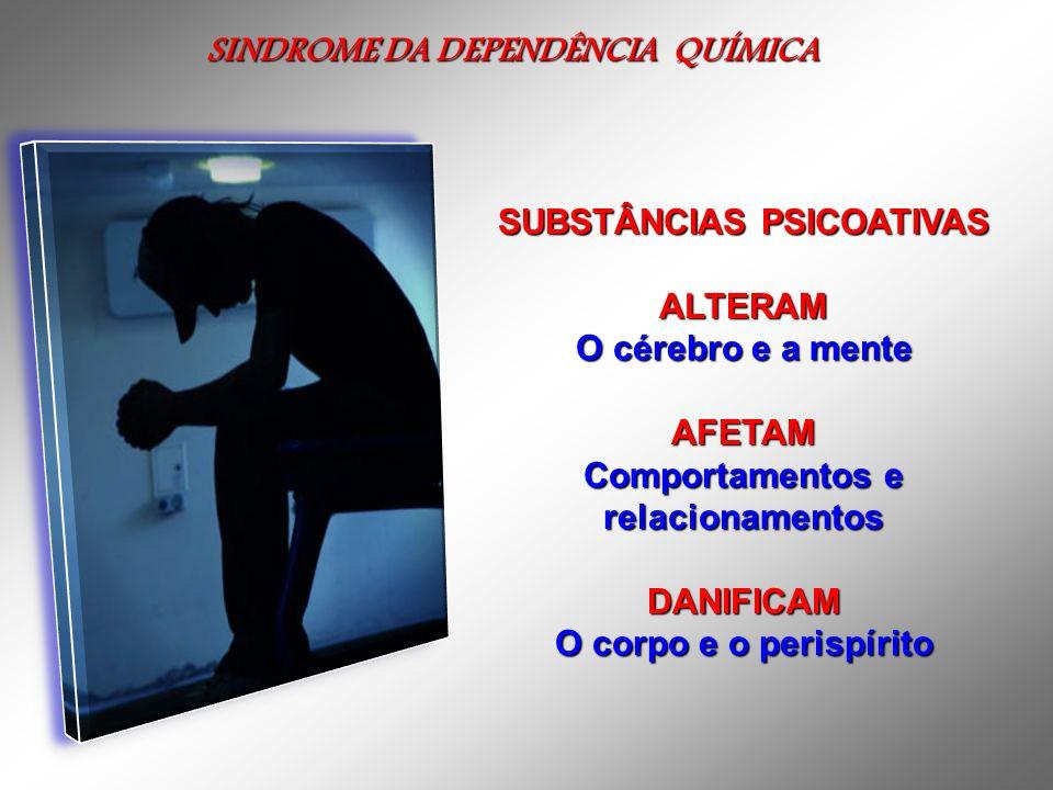 SINDROME DA DEPENDÊNCIA QUÍMICA SINDROME DA DEPENDÊNCIA QUÍMICA SUBSTÂNCIAS PSICOATIVAS ALTERAM O cérebro e a mente AFETAM Comportamentos e relacionam