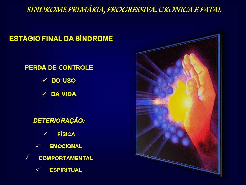 PERDA DE CONTROLE DO USO DO USO DA VIDA DA VIDADETERIORAÇÃO: FÍSICA FÍSICA EMOCIONAL EMOCIONAL COMPORTAMENTAL COMPORTAMENTAL ESPIRITUAL ESPIRITUAL EST