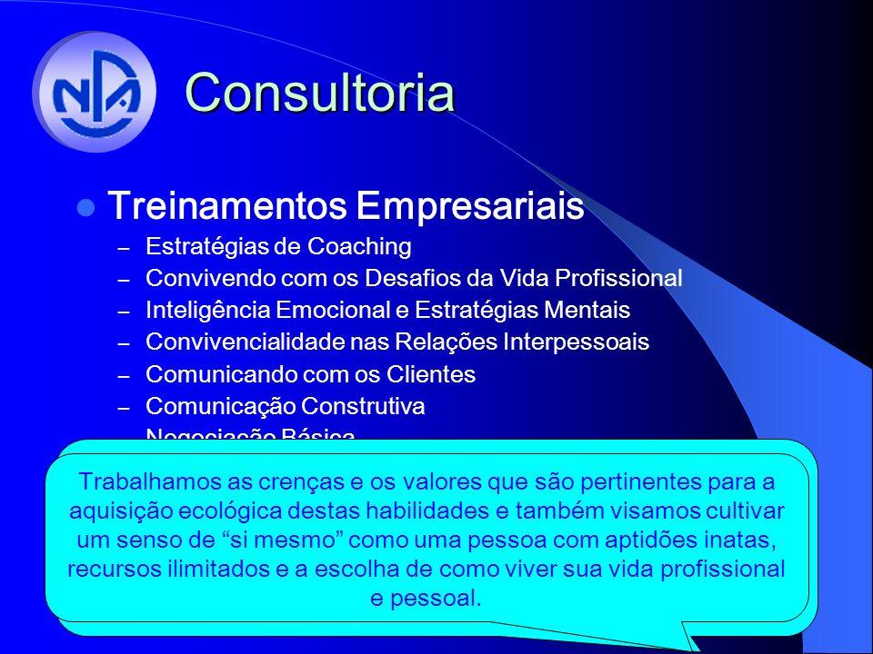 Consultoria Treinamentos Empresariais – Estratégias de Coaching – Convivendo com os Desafios da Vida Profissional – Inteligência Emocional e Estratégias Mentais – Convivencialidade nas Relações Interpessoais – Comunicando com os Clientes – Comunicação Construtiva – Negociação Básica – PNL para Vendedores – Liderança Visionária – Pensamento Sistêmico O Núcleo Pensamento & Ação realiza diversos treinamentos nas organizações.