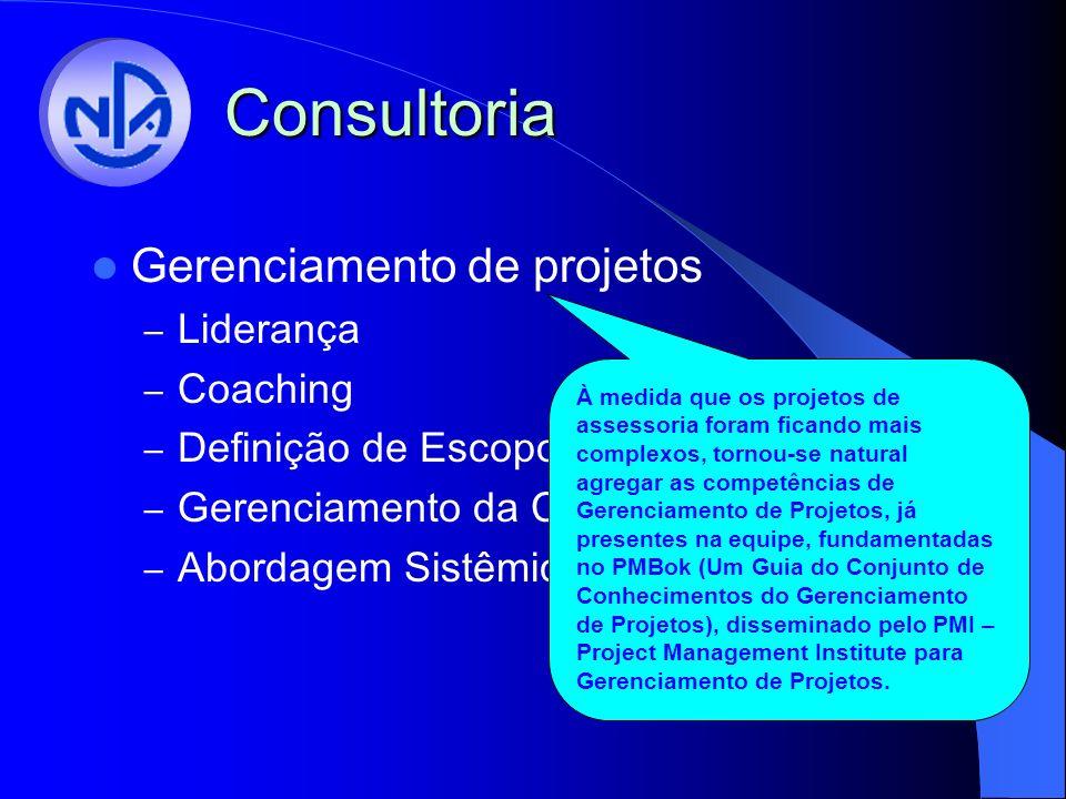 Consultoria Gerenciamento de projetos – Liderança – Coaching – Definição de Escopo – Gerenciamento da Comunicação – Abordagem Sistêmica À medida que os projetos de assessoria foram ficando mais complexos, tornou-se natural agregar as competências de Gerenciamento de Projetos, já presentes na equipe, fundamentadas no PMBok (Um Guia do Conjunto de Conhecimentos do Gerenciamento de Projetos), disseminado pelo PMI – Project Management Institute para Gerenciamento de Projetos.