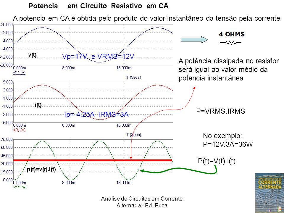 Potencia em Circuito Resistivo em CA A potencia em CA é obtida pelo produto do valor instantâneo da tensão pela corrente instantânea:p(t)=v(t).i(t) p(t)=v(t).i(t) A potência dissipada no resistor será igual ao valor médio da potencia instantânea No exemplo: P=12V.3A=36W P=VRMS.IRMS Vp=17V e VRMS=12V Ip= 4,25A IRMS=3A P(t)=V(t).i(t)