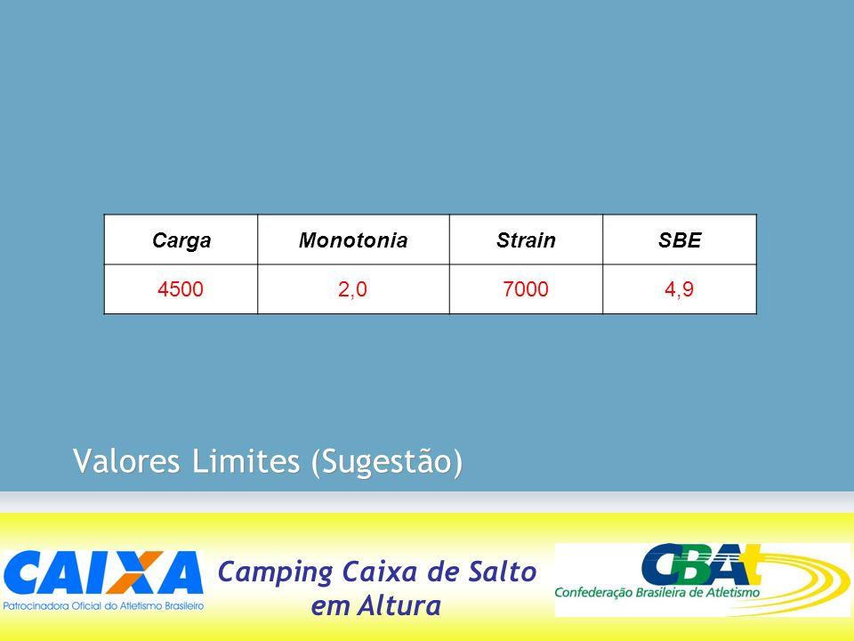 Camping Caixa de Salto em Altura Valores Limites (Sugestão) CargaMonotoniaStrainSBE 45002,070004,9