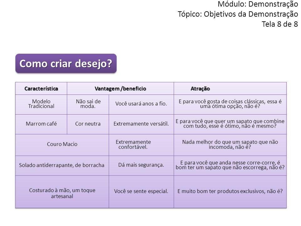 Módulo: Demonstração Tópico: Objetivos da Demonstração Tela 8 de 8 Como criar desejo?