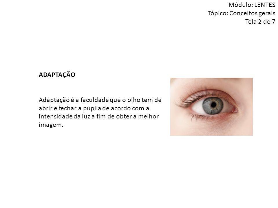 ADAPTAÇÃO Adaptação é a faculdade que o olho tem de abrir e fechar a pupila de acordo com a intensidade da luz a fim de obter a melhor imagem. Módulo: