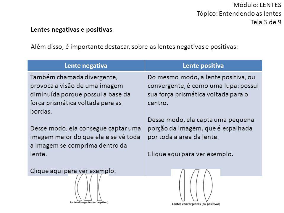 Lentes negativas e positivas Além disso, é importante destacar, sobre as lentes negativas e positivas: Módulo: LENTES Tópico: Entendendo as lentes Tel