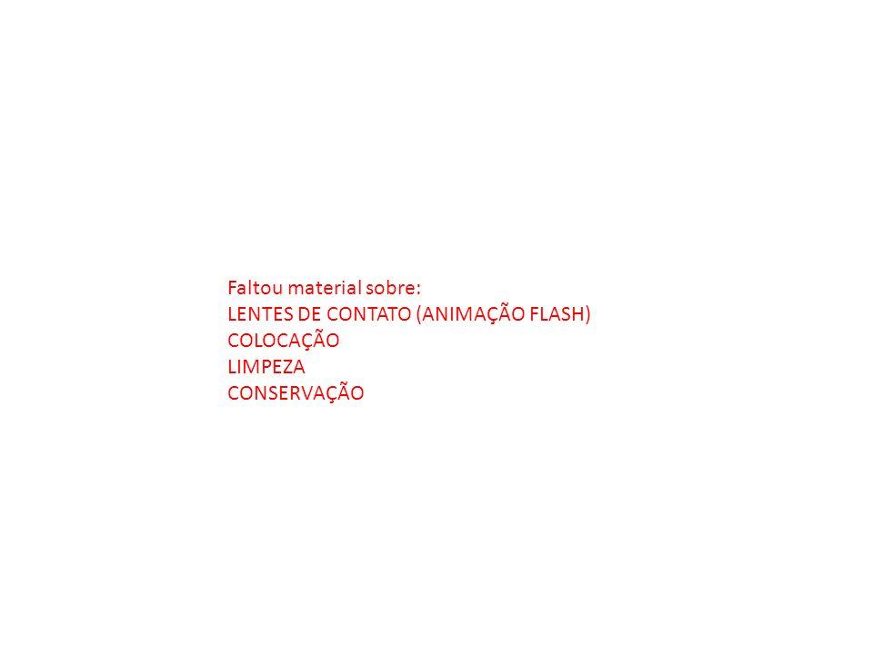 Faltou material sobre: LENTES DE CONTATO (ANIMAÇÃO FLASH) COLOCAÇÃO LIMPEZA CONSERVAÇÃO