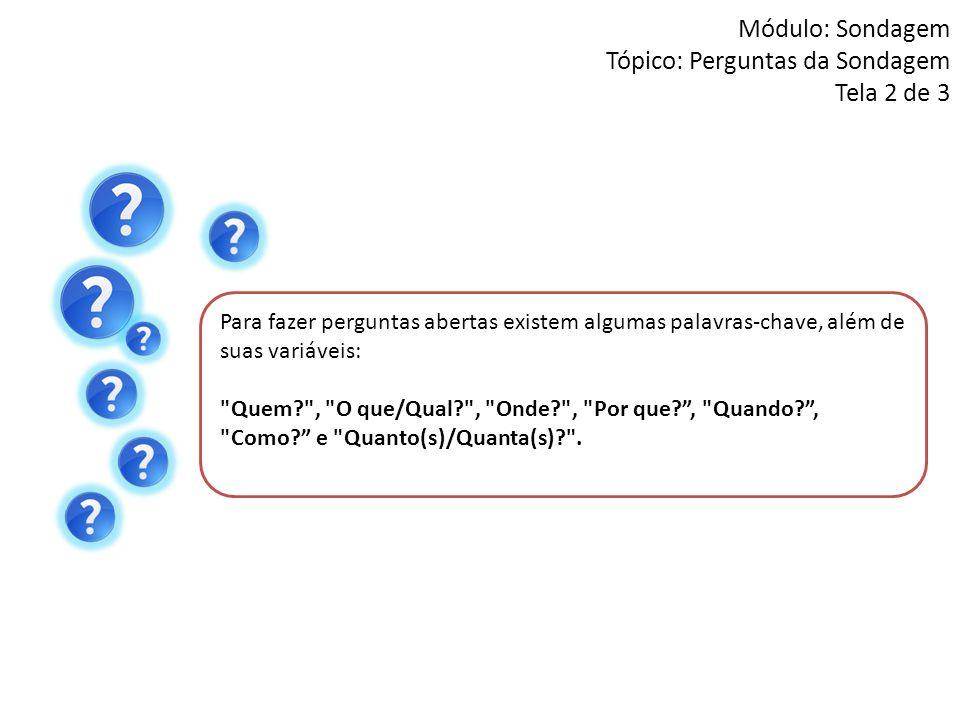 Módulo: Sondagem Tópico: Perguntas da Sondagem Tela 2 de 3 Para fazer perguntas abertas existem algumas palavras-chave, além de suas variáveis: