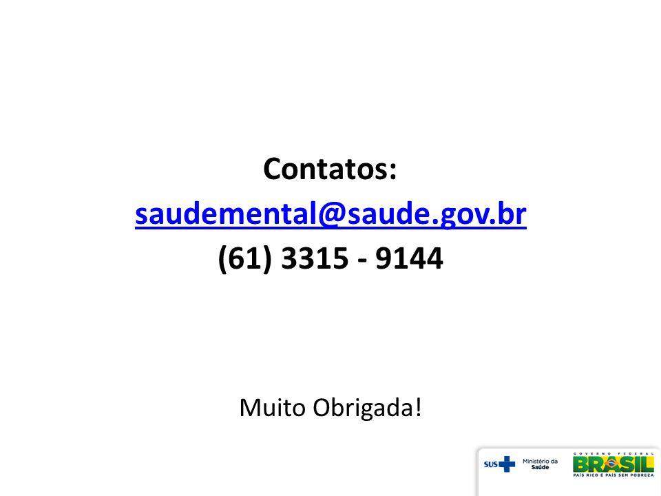 Contatos: saudemental@saude.gov.br (61) 3315 - 9144 Muito Obrigada!