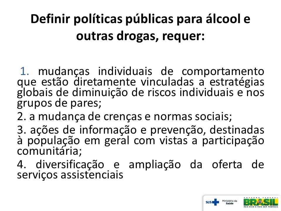 Definir políticas públicas para álcool e outras drogas, requer: 1. mudanças individuais de comportamento que estão diretamente vinculadas a estratégia