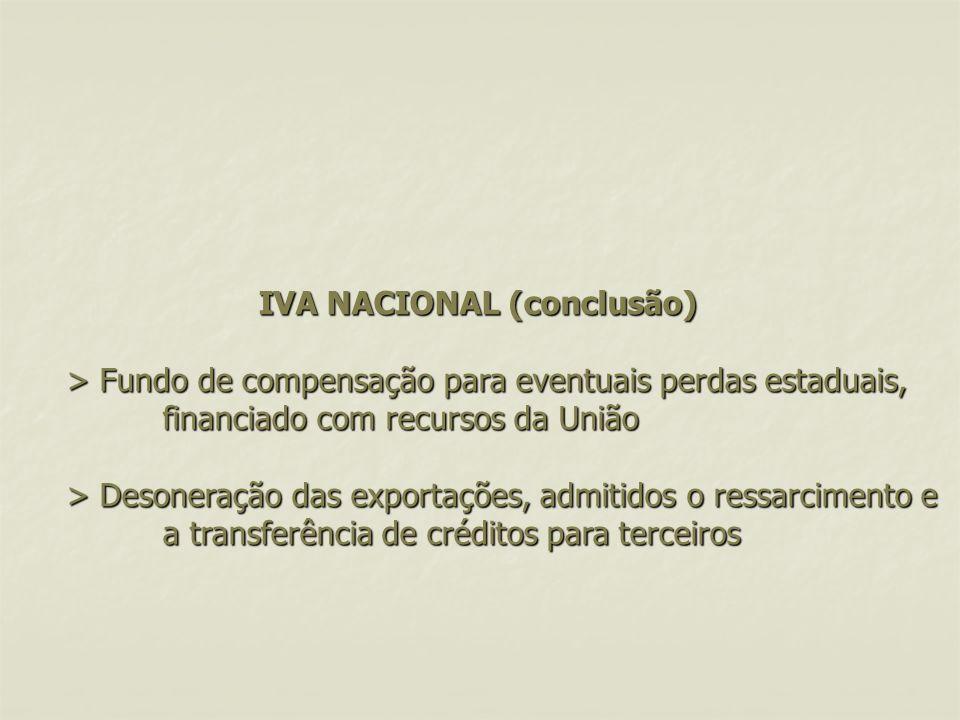 IVA NACIONAL (conclusão) > Fundo de compensação para eventuais perdas estaduais, financiado com recursos da União > Desoneração das exportações, admitidos o ressarcimento e a transferência de créditos para terceiros