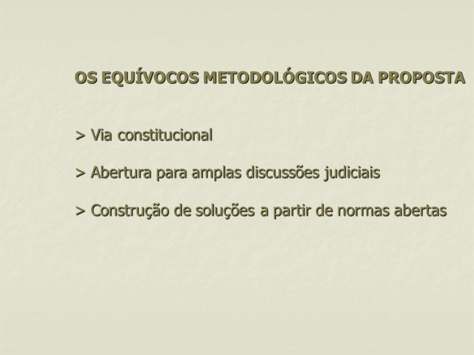 OS EQUÍVOCOS METODOLÓGICOS DA PROPOSTA > Via constitucional > Abertura para amplas discussões judiciais > Construção de soluções a partir de normas abertas OS EQUÍVOCOS METODOLÓGICOS DA PROPOSTA > Via constitucional > Abertura para amplas discussões judiciais > Construção de soluções a partir de normas abertas