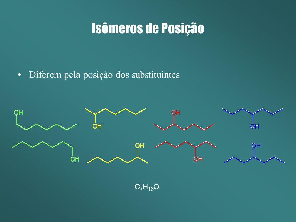 Isômeros de Posição Diferem pela posição dos substituintes C 7 H 16 O