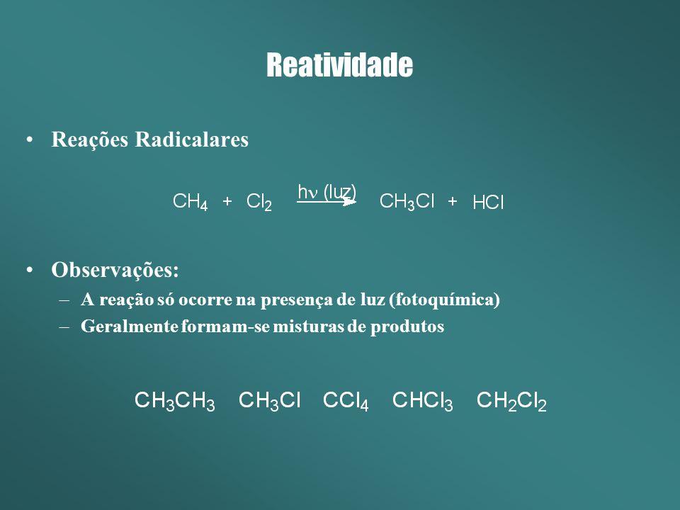 Reações Radicalares Observações: –A reação só ocorre na presença de luz (fotoquímica) –Geralmente formam-se misturas de produtos Reatividade