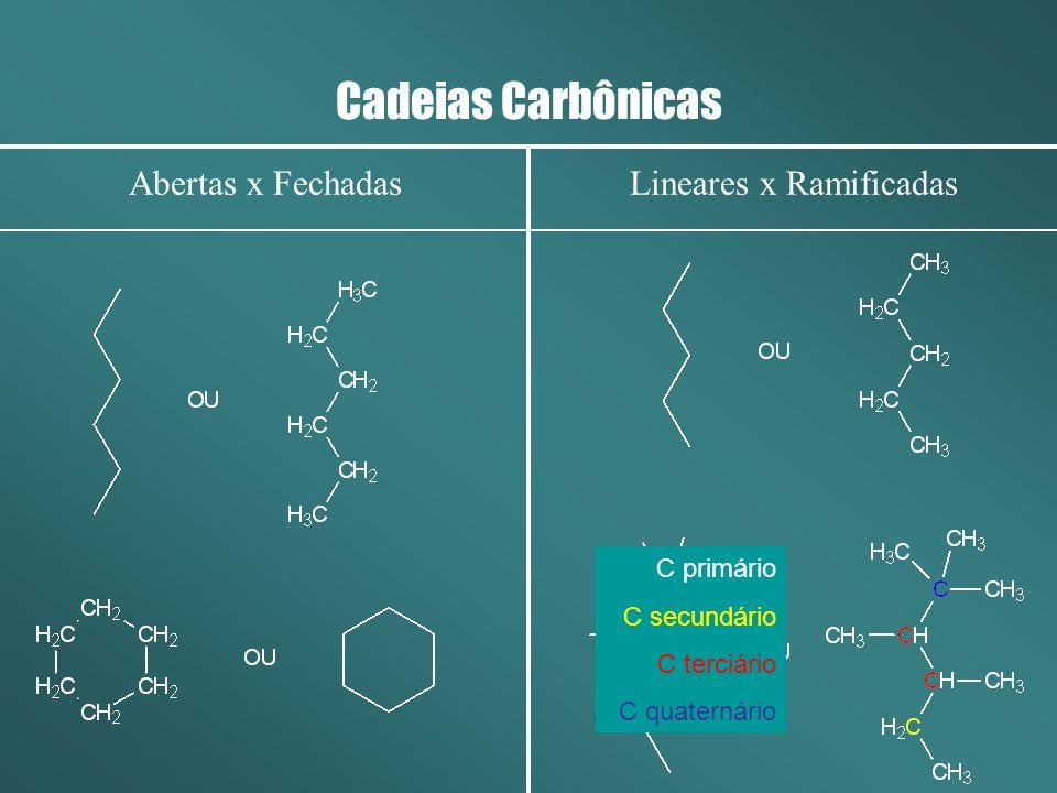 Cadeias Carbônicas Abertas x FechadasLineares x Ramificadas C primário C secundário C terciário C quaternário