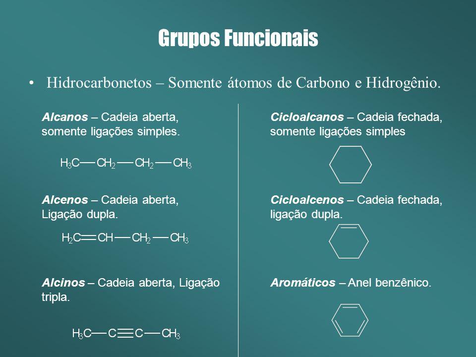 Cicloalcanos – Cadeia fechada, somente ligações simples Cicloalcenos – Cadeia fechada, ligação dupla. Aromáticos – Anel benzênico. Alcanos – Cadeia ab