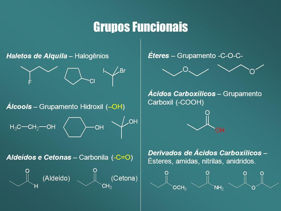 Haletos de Alquila – Halogênios Álcoois – Grupamento Hidroxil (–OH) Aldeídos e Cetonas – Carbonila (-C=O) Grupos Funcionais Éteres – Grupamento -C-O-C