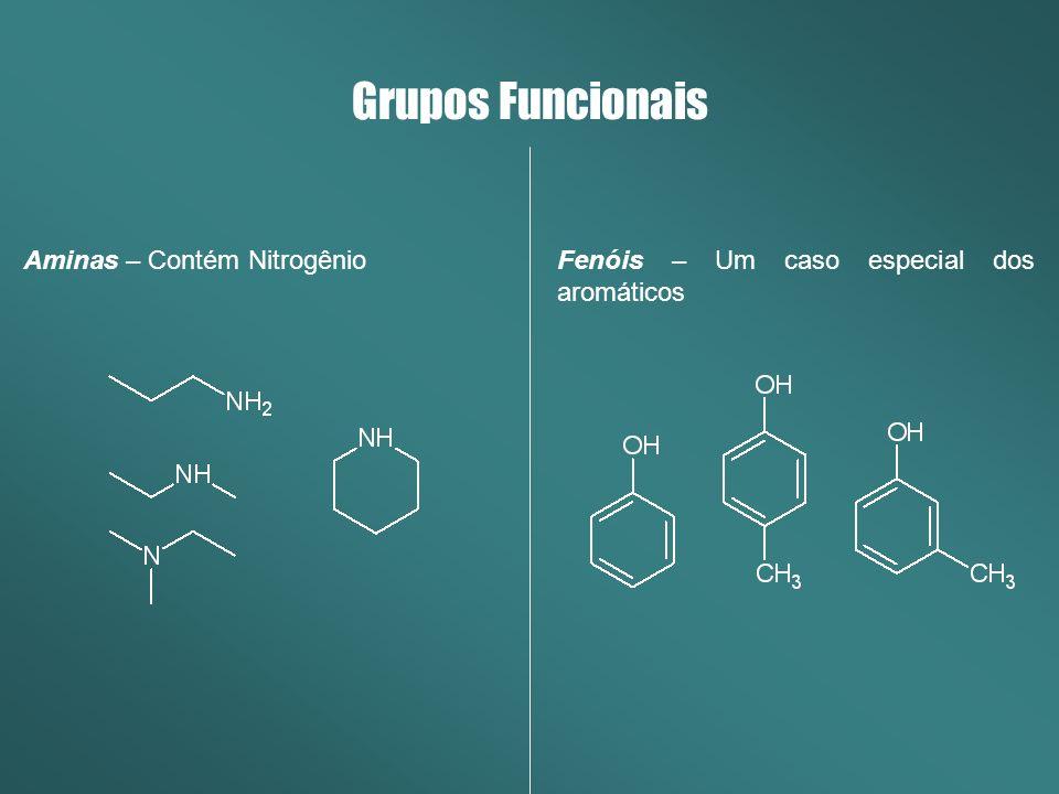 Aminas – Contém Nitrogênio Grupos Funcionais Fenóis – Um caso especial dos aromáticos