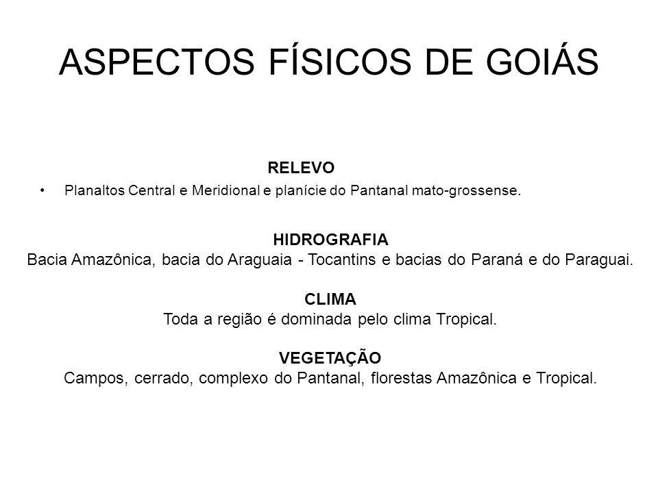 ASPECTOS FÍSICOS DE GOIÁS RELEVO Planaltos Central e Meridional e planície do Pantanal mato-grossense. HIDROGRAFIA Bacia Amazônica, bacia do Araguaia