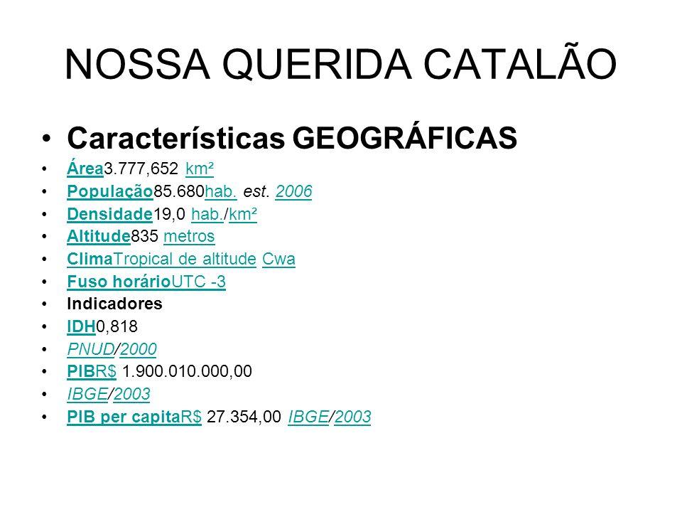 NOSSA QUERIDA CATALÃO Características GEOGRÁFICAS Área3.777,652 km²Áreakm² População85.680hab. est. 2006Populaçãohab.2006 Densidade19,0 hab./km²Densid