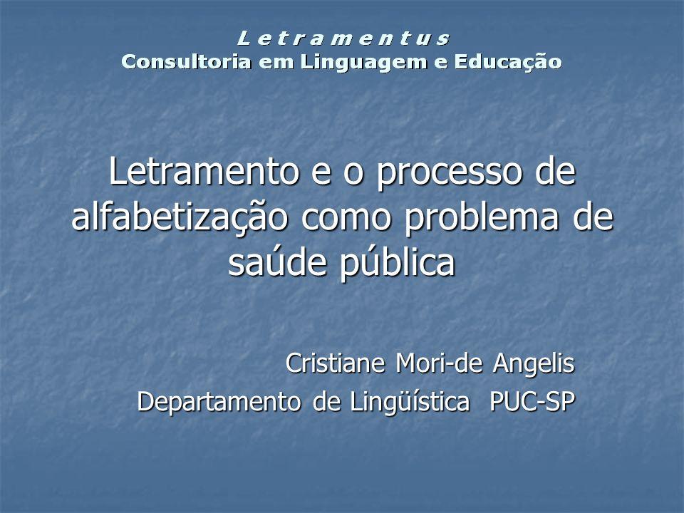 Letramento e o processo de alfabetização como problema de saúde pública Cristiane Mori-de Angelis Departamento de Lingüística PUC-SP