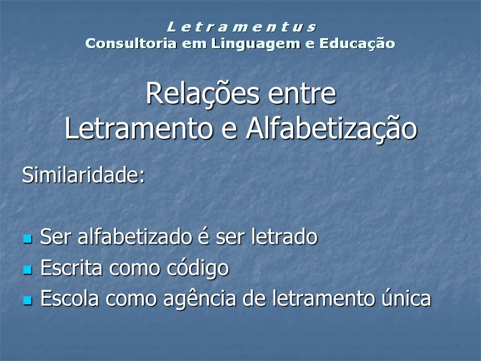 Relações entre Letramento e Alfabetização Similaridade: Ser alfabetizado é ser letrado Ser alfabetizado é ser letrado Escrita como código Escrita como