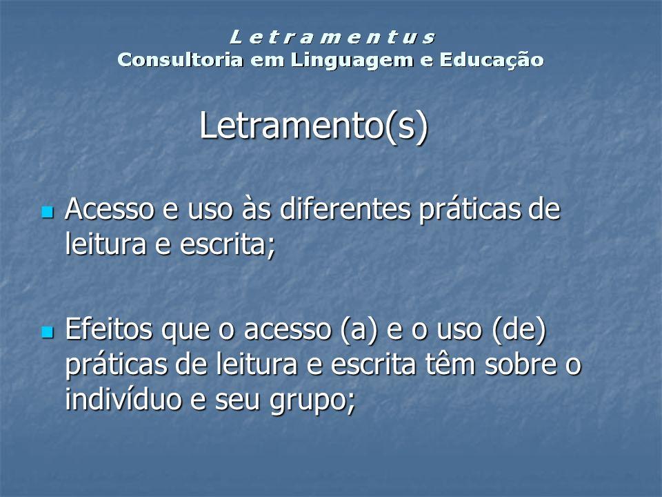 Letramento(s) Acesso e uso às diferentes práticas de leitura e escrita; Acesso e uso às diferentes práticas de leitura e escrita; Efeitos que o acesso
