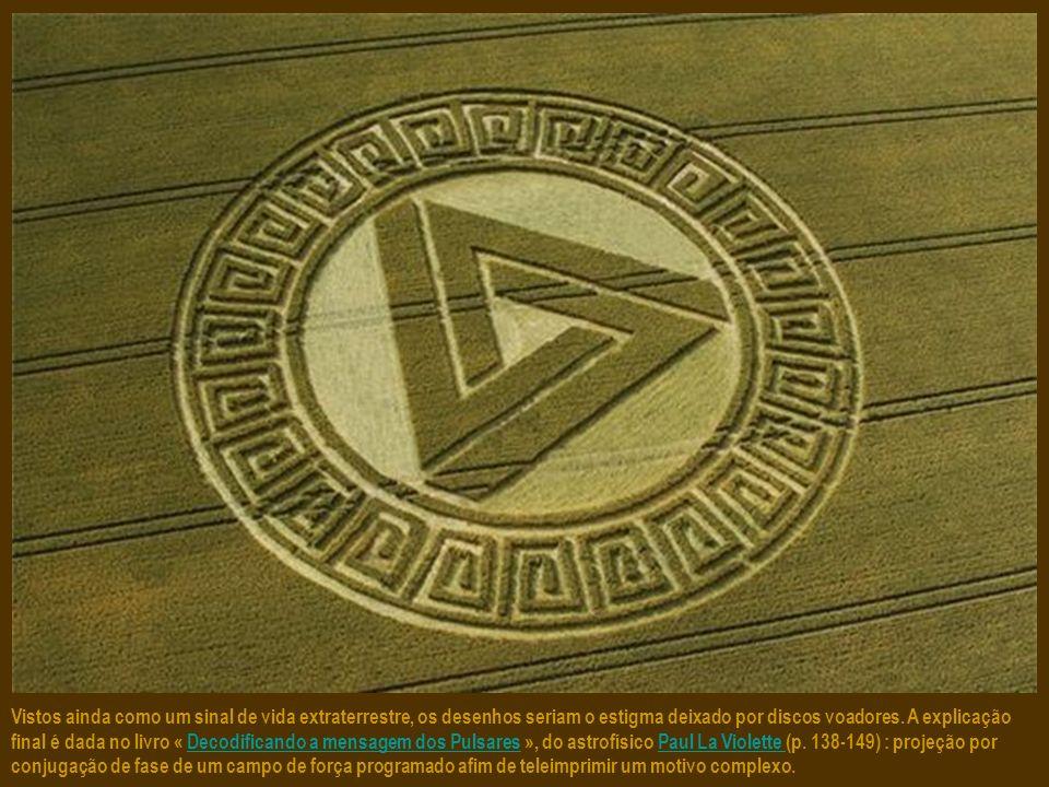 Os únicos testemunhos sobre a formação dos agroglifos falam de uma esfera de luz que surge e parte rapidamente, deixando para trás estas figuras geomé
