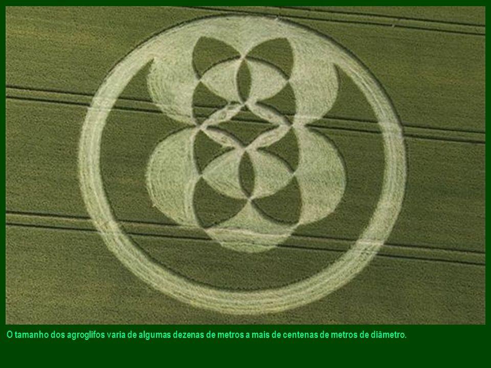 O tamanho dos agroglifos varia de algumas dezenas de metros a mais de centenas de metros de diâmetro.