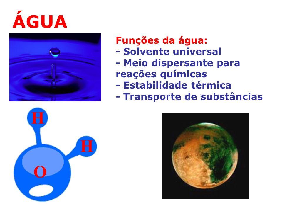 ÁGUA O H H Funções da água: - Solvente universal - Meio dispersante para reações químicas - Estabilidade térmica - Transporte de substâncias