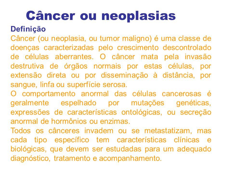 Definição Câncer (ou neoplasia, ou tumor maligno) é uma classe de doenças caracterizadas pelo crescimento descontrolado de células aberrantes.