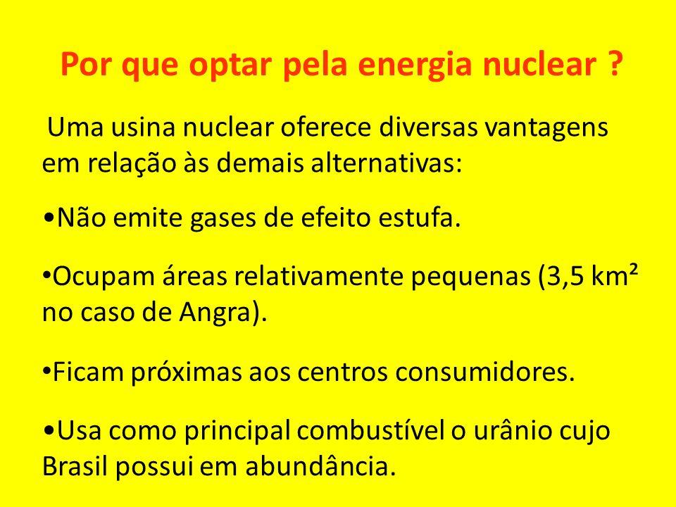 Por que optar pela energia nuclear ? Uma usina nuclear oferece diversas vantagens em relação às demais alternativas: Não emite gases de efeito estufa.
