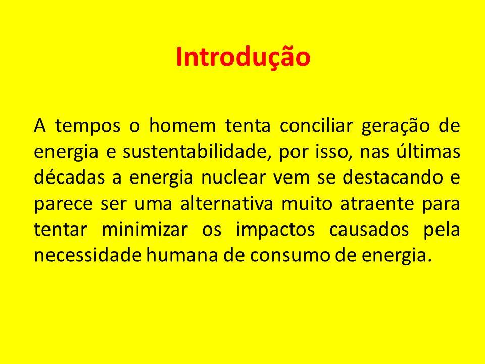 Introdução A tempos o homem tenta conciliar geração de energia e sustentabilidade, por isso, nas últimas décadas a energia nuclear vem se destacando e