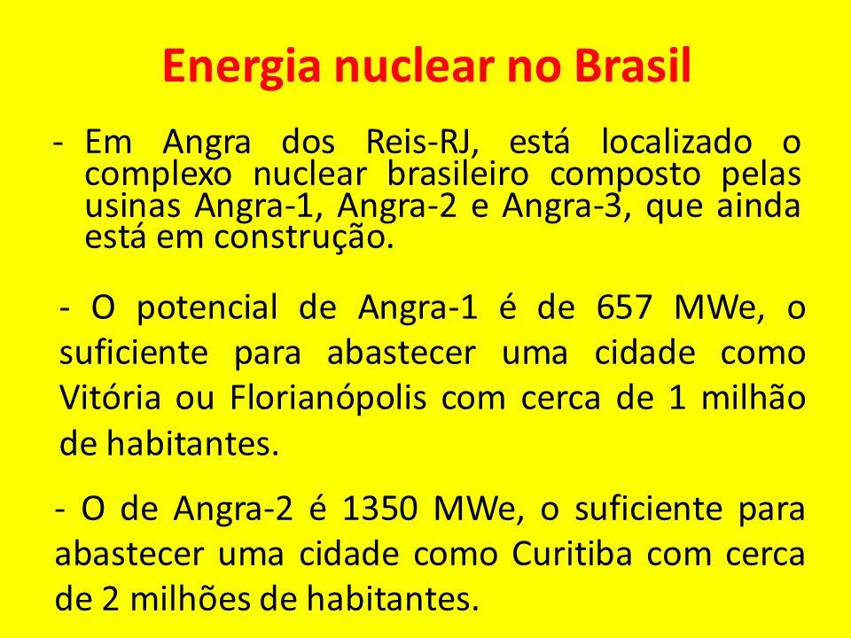 Energia nuclear no Brasil -Em Angra dos Reis-RJ, está localizado o complexo nuclear brasileiro composto pelas usinas Angra-1, Angra-2 e Angra-3, que a