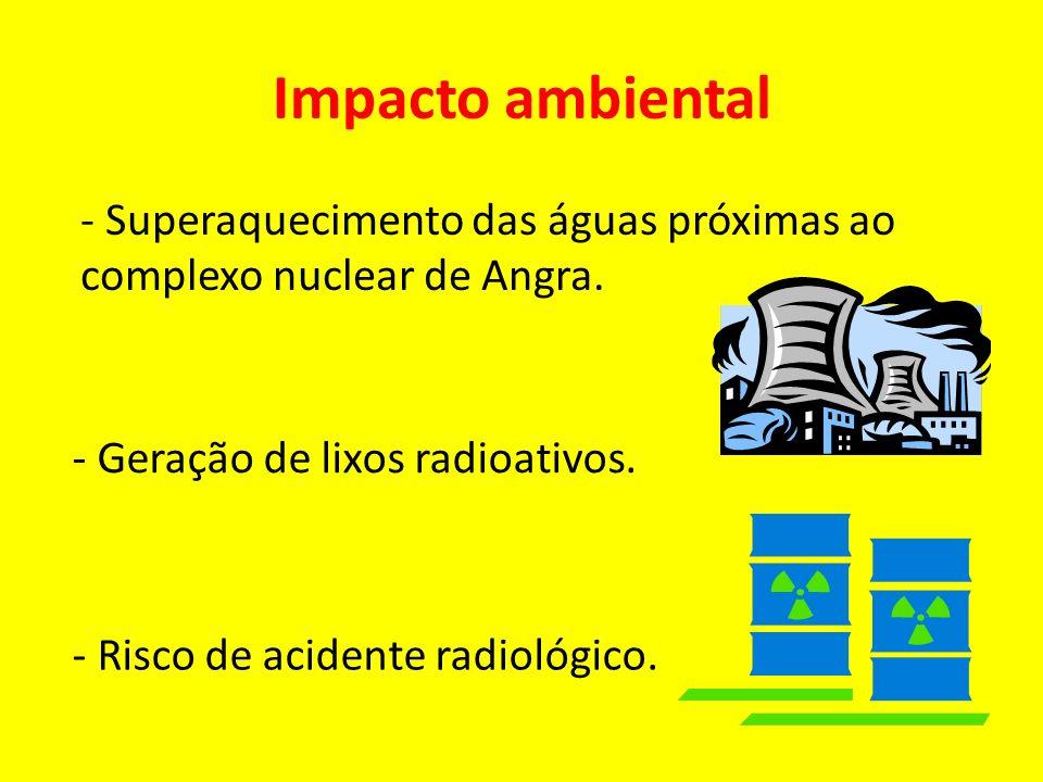 Impacto ambiental - Superaquecimento das águas próximas ao complexo nuclear de Angra. - Risco de acidente radiológico. - Geração de lixos radioativos.