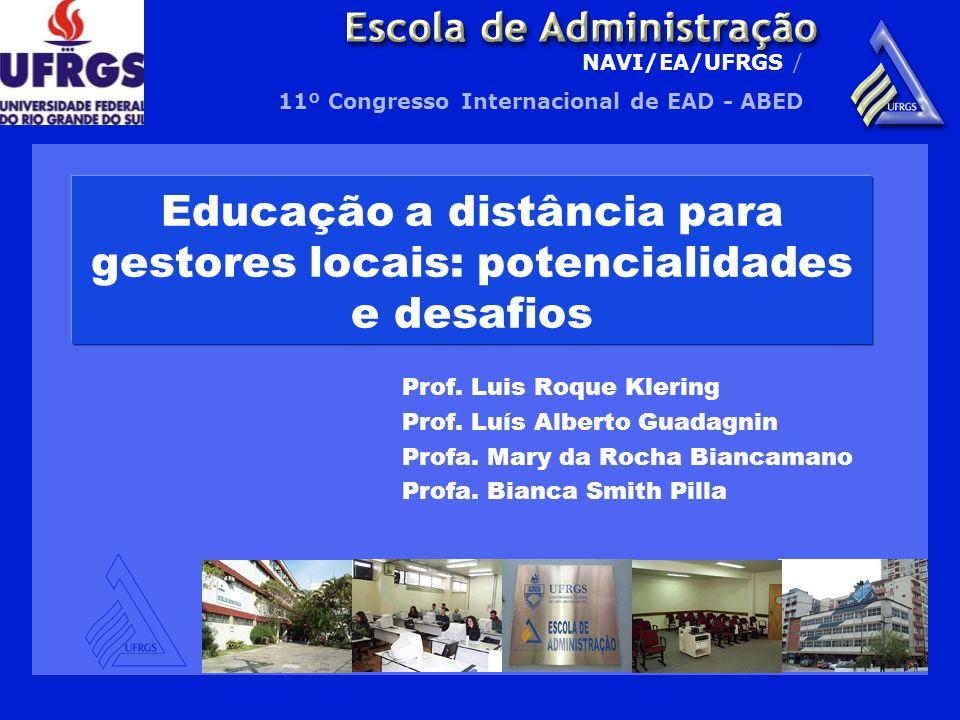 NAVI/EA/UFRGS / 11º Congresso Internacional de EAD - ABED Educação a distância para gestores locais: potencialidades e desafios Prof. Luis Roque Kleri