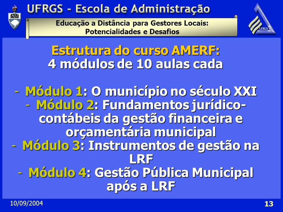 Educação a Distância para Gestores Locais: Potencialidades e Desafios 10/09/2004 13 Estrutura do curso AMERF: 4 módulos de 10 aulas cada -Módulo 1: O