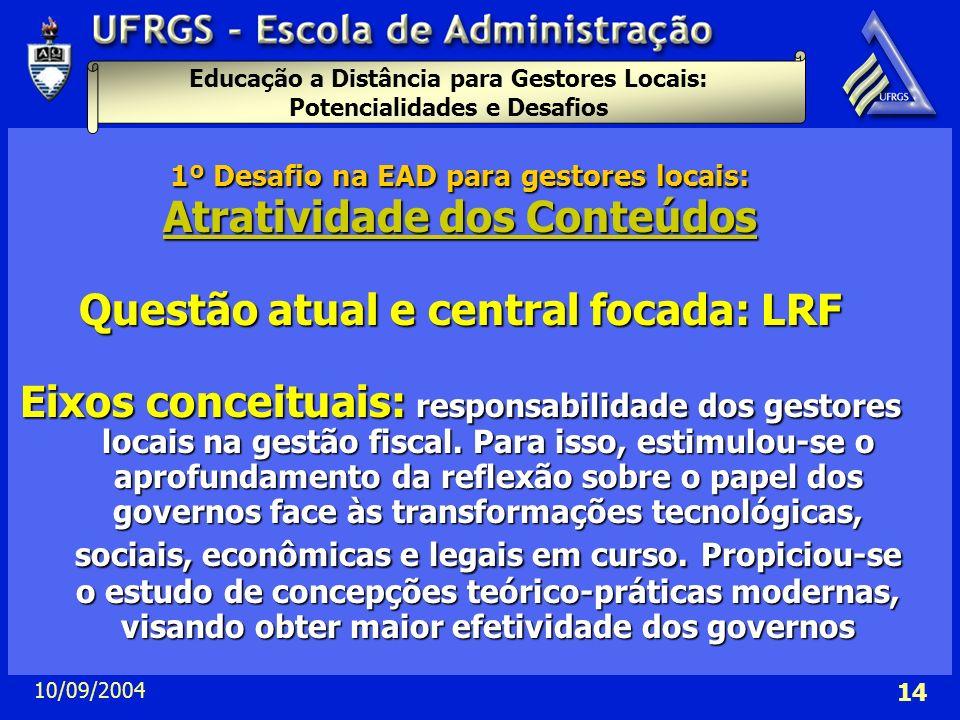 Educação a Distância para Gestores Locais: Potencialidades e Desafios 10/09/2004 14 1º Desafio na EAD para gestores locais: Atratividade dos Conteúdos