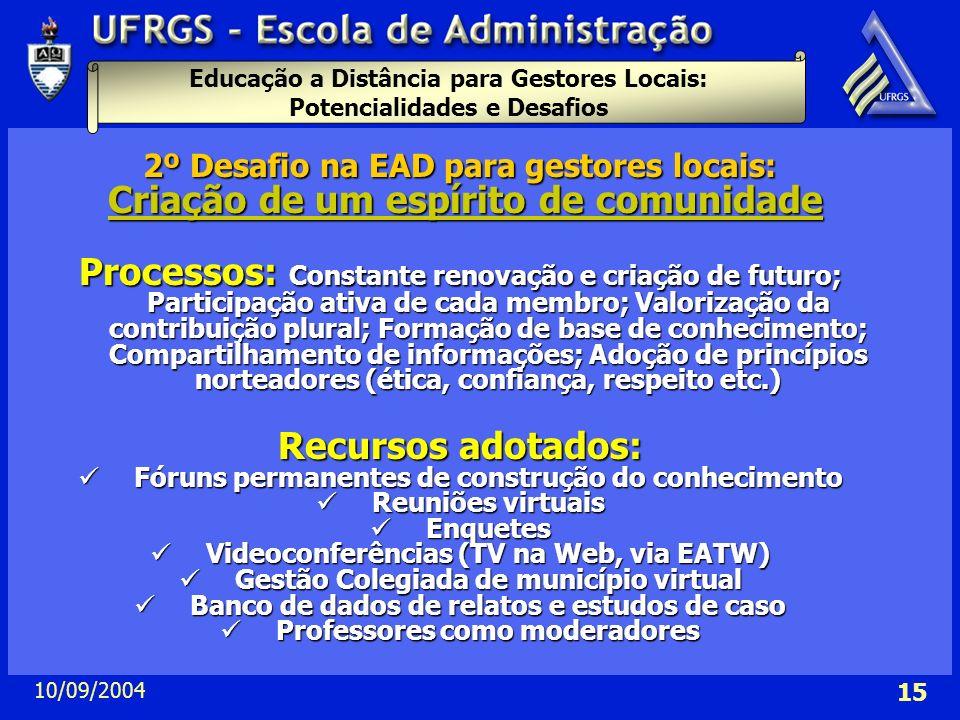 Educação a Distância para Gestores Locais: Potencialidades e Desafios 10/09/2004 15 2º Desafio na EAD para gestores locais: Criação de um espírito de