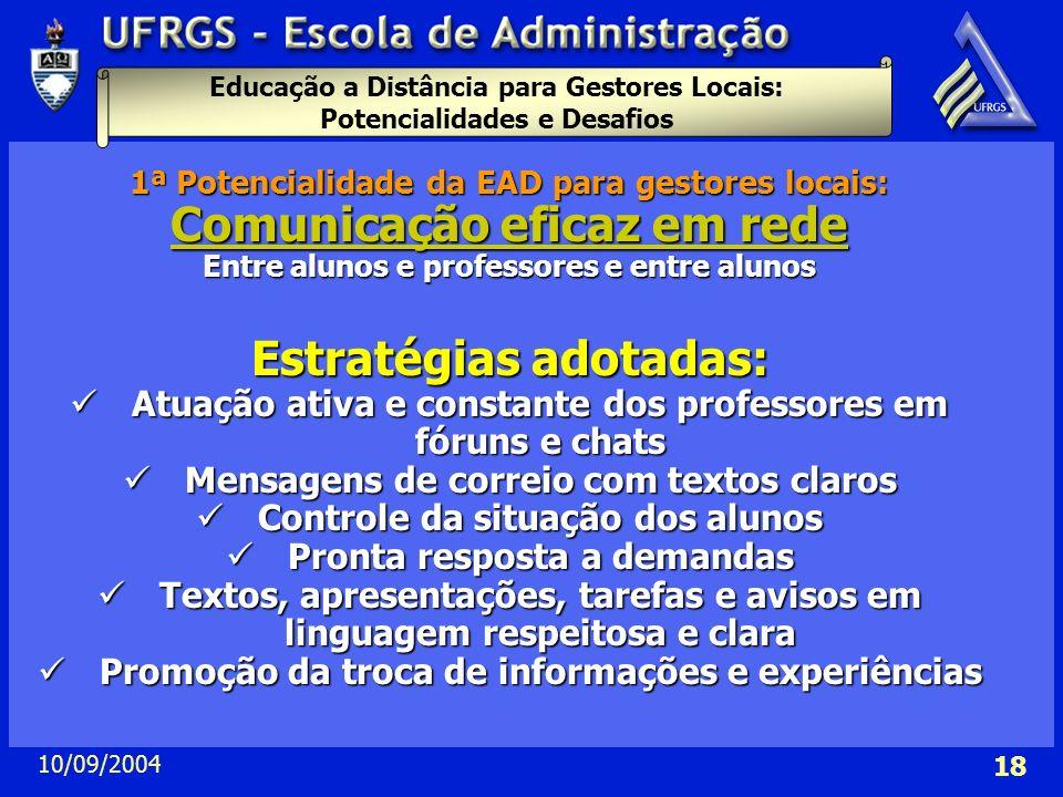 Educação a Distância para Gestores Locais: Potencialidades e Desafios 10/09/2004 18 1ª Potencialidade da EAD para gestores locais: Comunicação eficaz