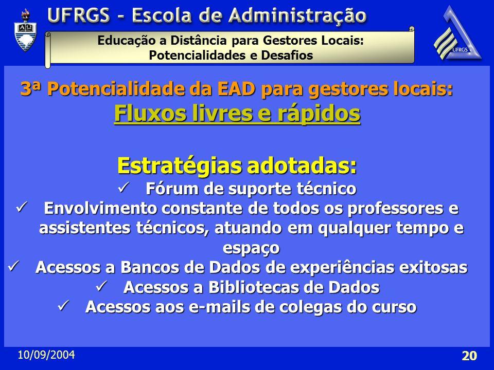 Educação a Distância para Gestores Locais: Potencialidades e Desafios 10/09/2004 20 3ª Potencialidade da EAD para gestores locais: Fluxos livres e ráp