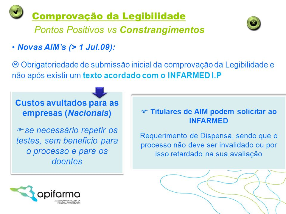 Comprovação da Legibilidade Custos avultados para as empresas (Nacionais) se necessário repetir os testes, sem beneficio para o processo e para os doe