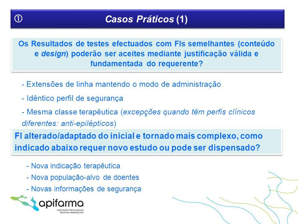 Casos Práticos (1) Os Resultados de testes efectuados com FIs semelhantes (conteúdo e design) poderão ser aceites mediante justificação válida e funda