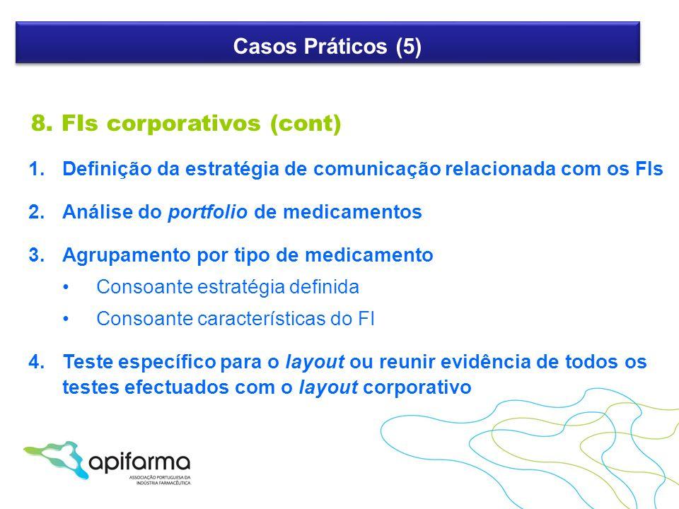 Casos Práticos (5) 8. FIs corporativos (cont) 1.Definição da estratégia de comunicação relacionada com os FIs 2.Análise do portfolio de medicamentos 3