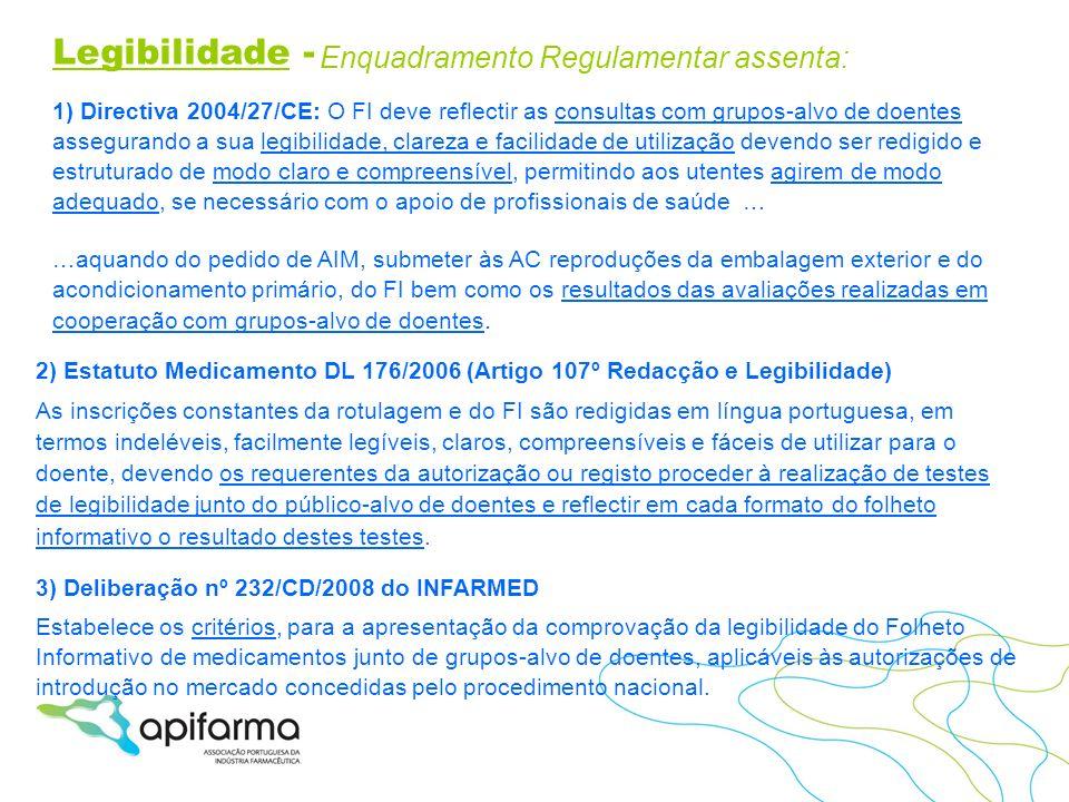 Legibilidade - Enquadramento Regulamentar assenta: 1) Directiva 2004/27/CE: O FI deve reflectir as consultas com grupos-alvo de doentes assegurando a