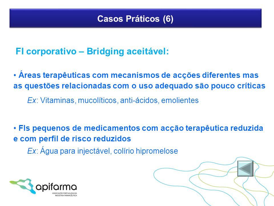 Casos Práticos (6) FI corporativo – Bridging aceitável: Áreas terapêuticas com mecanismos de acções diferentes mas as questões relacionadas com o uso