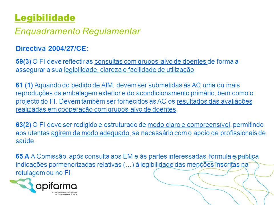 Legibilidade Enquadramento Regulamentar Directiva 2004/27/CE: 59(3) O FI deve reflectir as consultas com grupos-alvo de doentes de forma a assegurar a