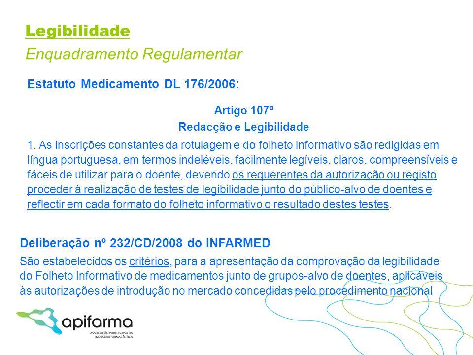 Legibilidade Enquadramento Regulamentar Estatuto Medicamento DL 176/2006: Artigo 107º Redacção e Legibilidade 1. As inscrições constantes da rotulagem